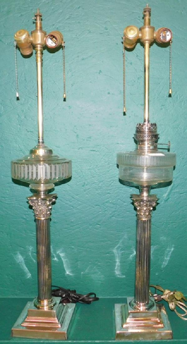 2 English silver on brass banquet lamps