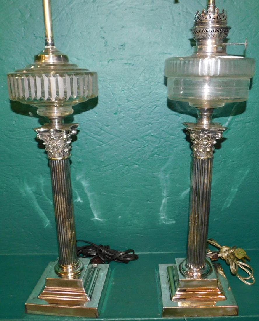 2 English silver on brass banquet lamps - 2