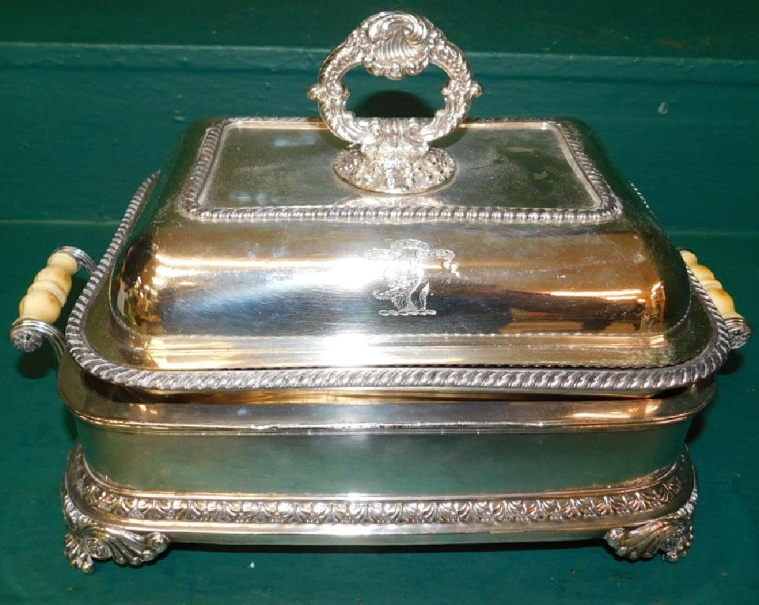 Armorial crested Old Sheffield entree server