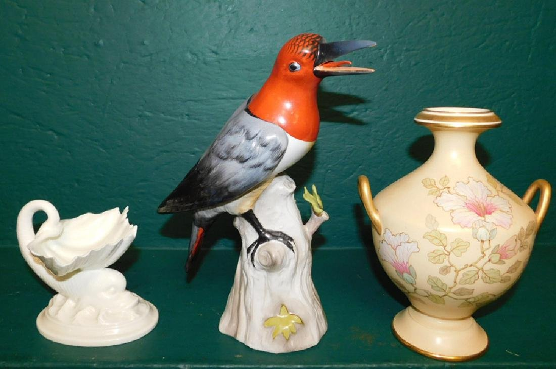 Wedgwood pitcher, porc bird, &  Belleek dish