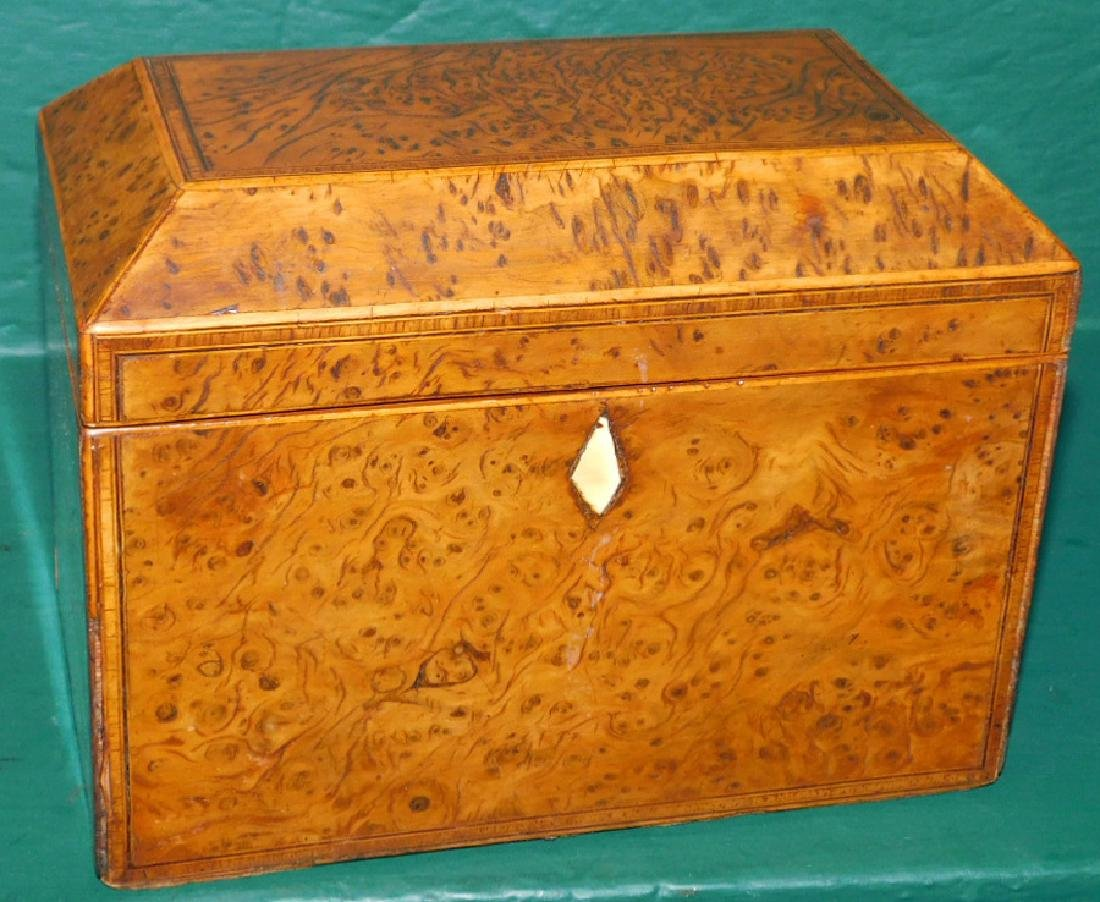Burl walnut tea caddy
