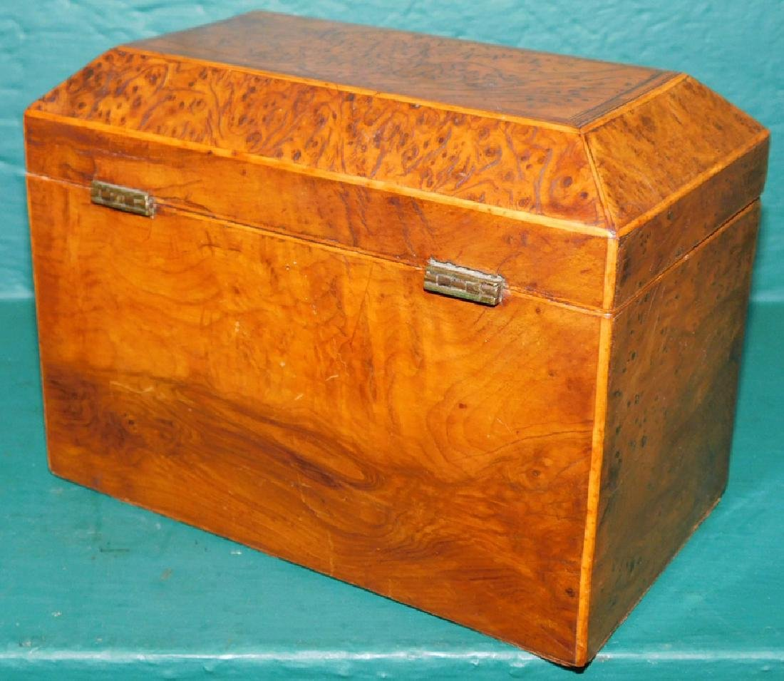 Burl walnut tea caddy - 4