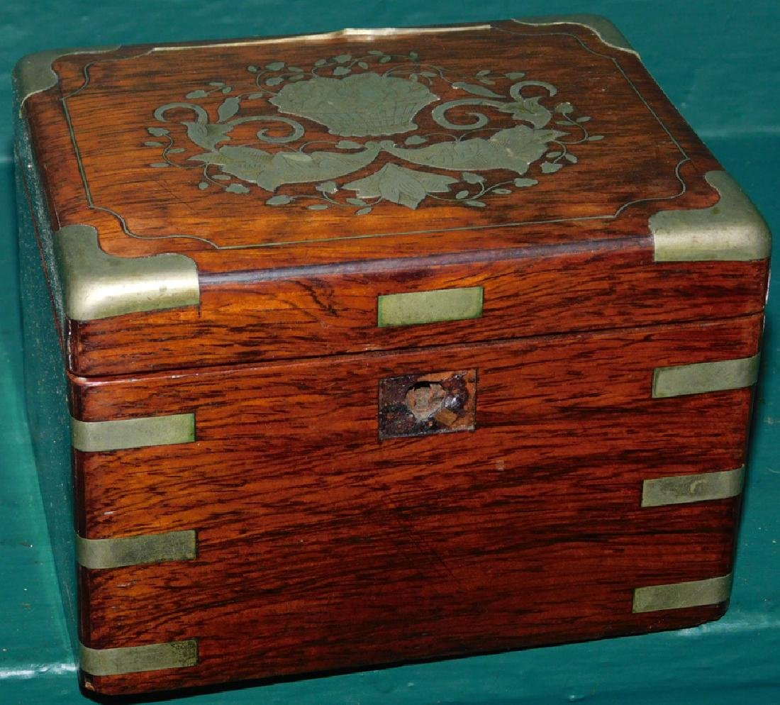 Rosewood and silver inlaid Oriental box