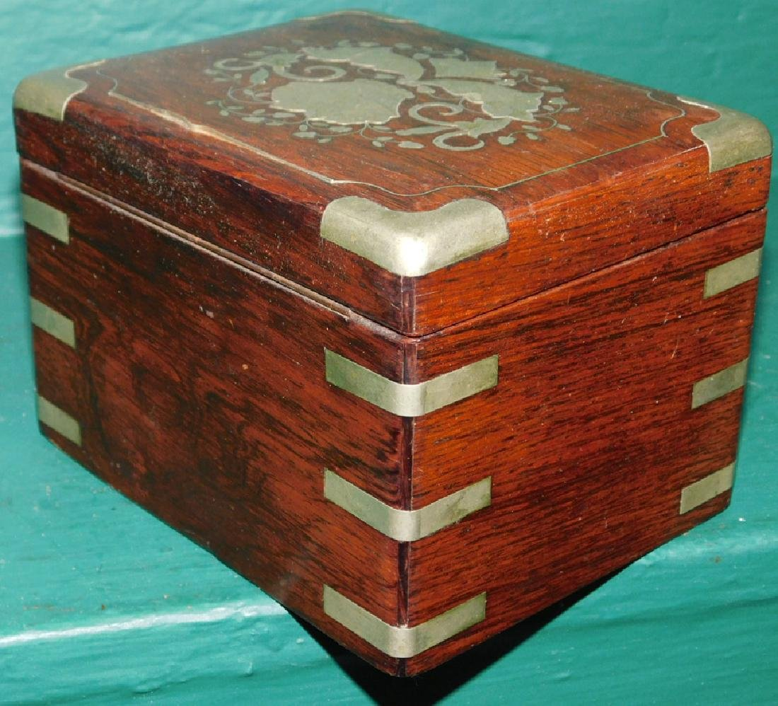 Rosewood and silver inlaid Oriental box - 3