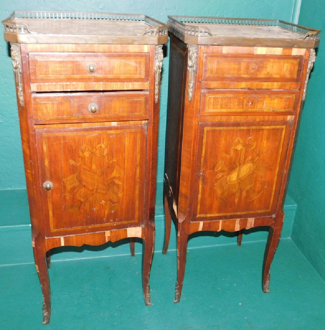 Pair of marble top French night stands