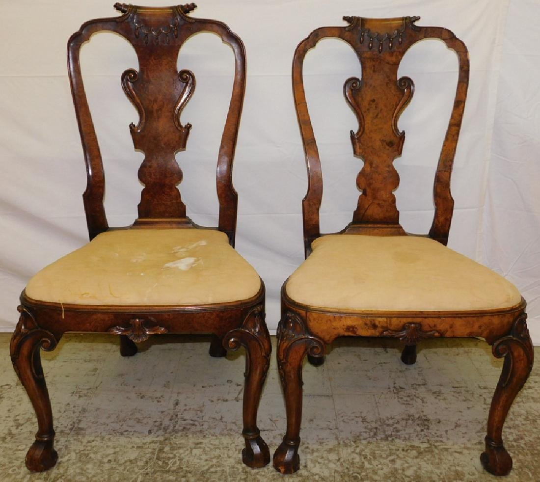 Pair of tassel back Queen Anne chairs