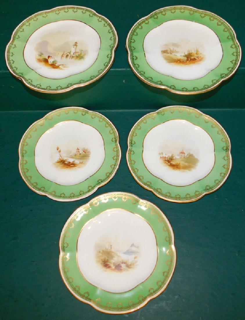 Set of 5 Old Paris plates