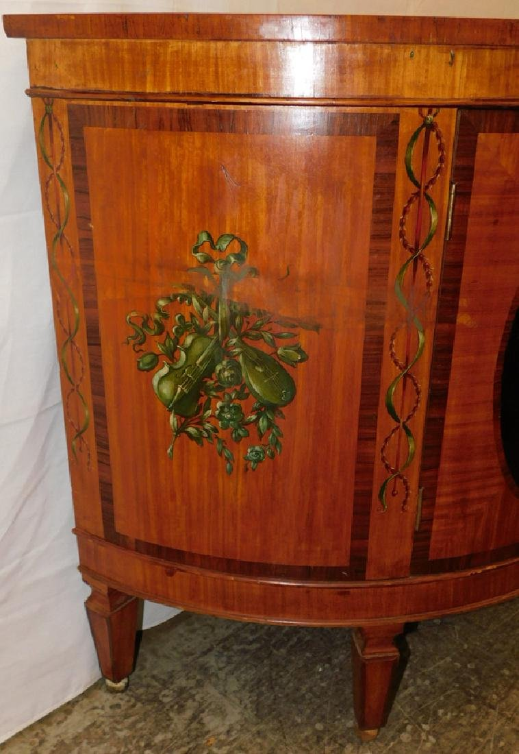 Paint decorated Adams style commode - 4