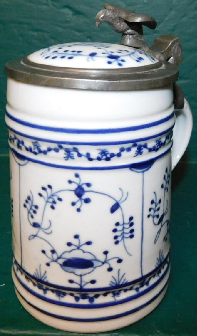 Delft pewter top tankard