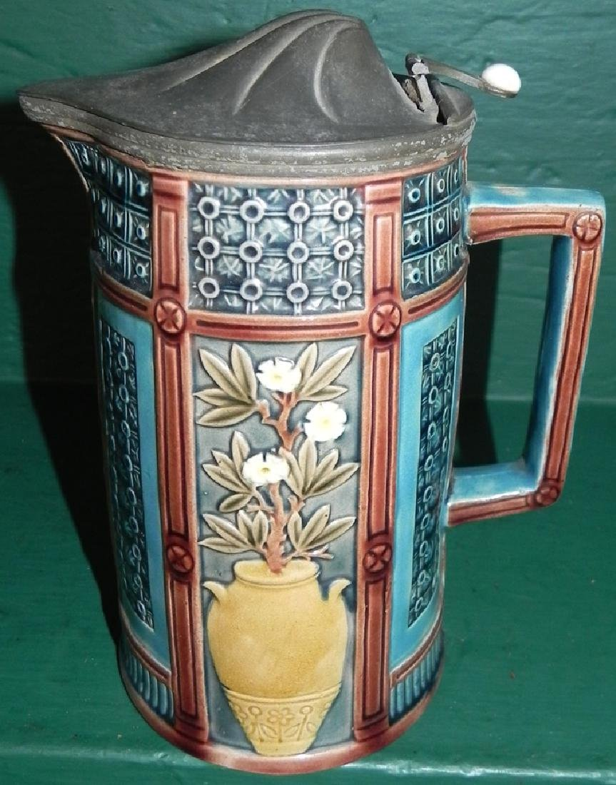 Majolica pewter top pitcher