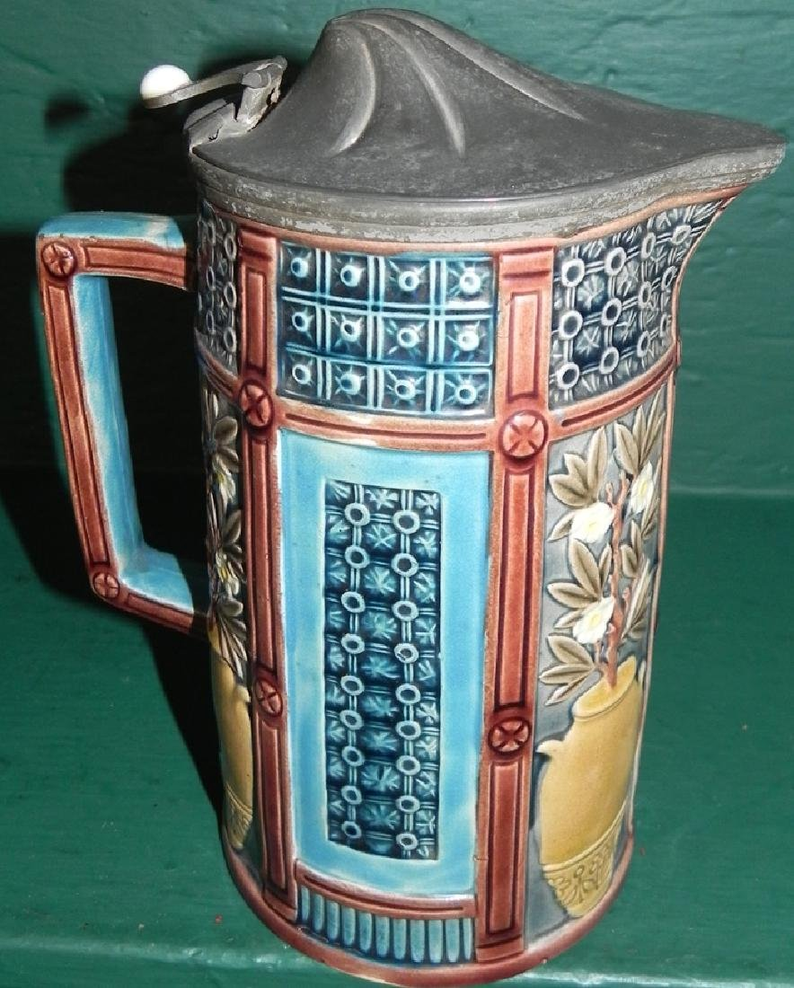 Majolica pewter top pitcher - 2