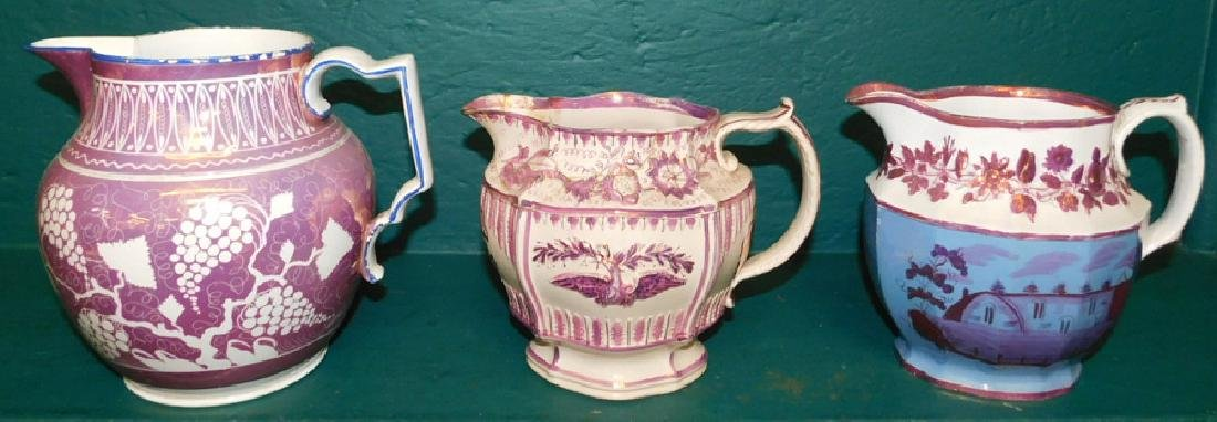 3 19th C luster pitchers - 2