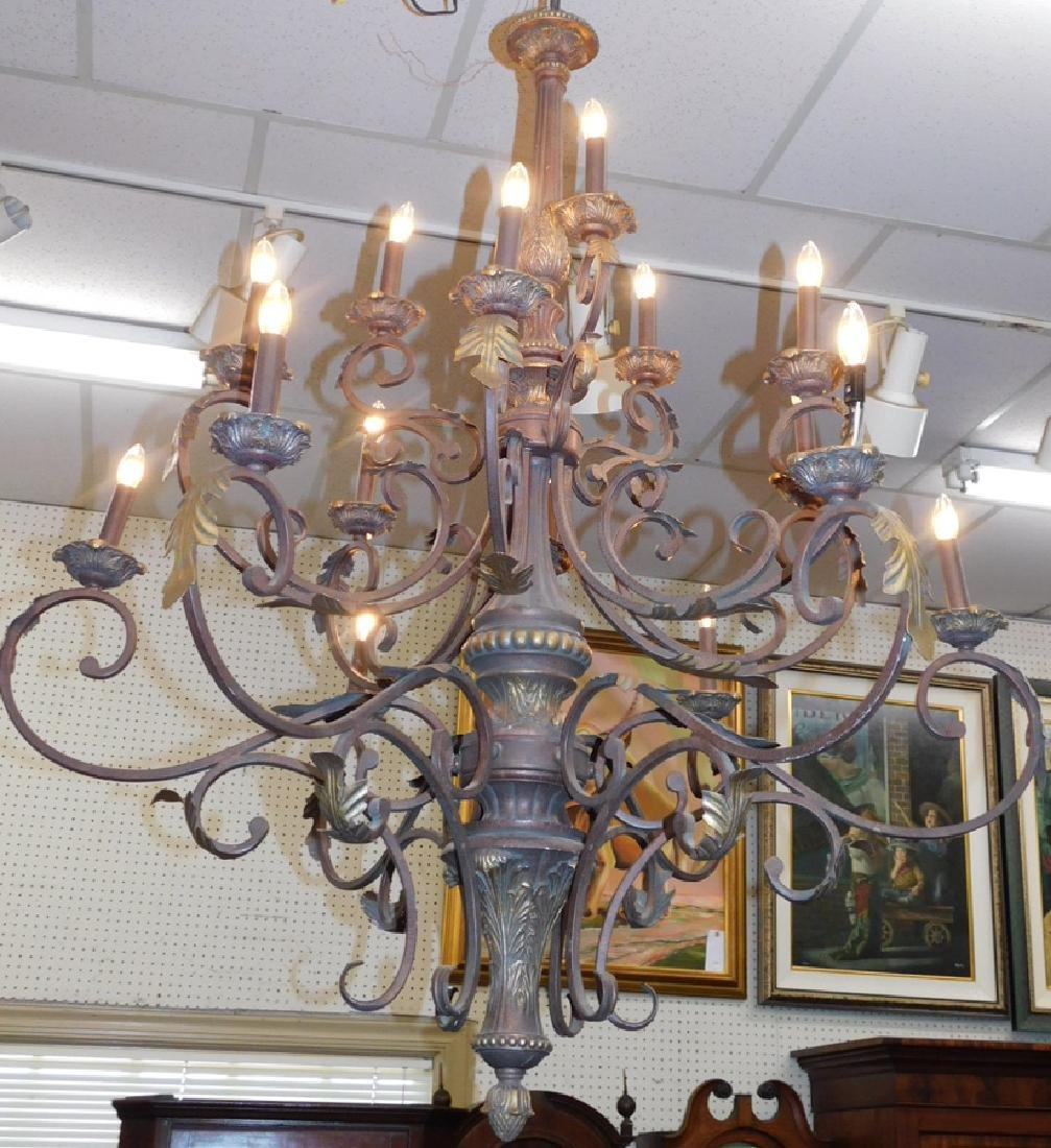 Wrought iron hanging chandelier