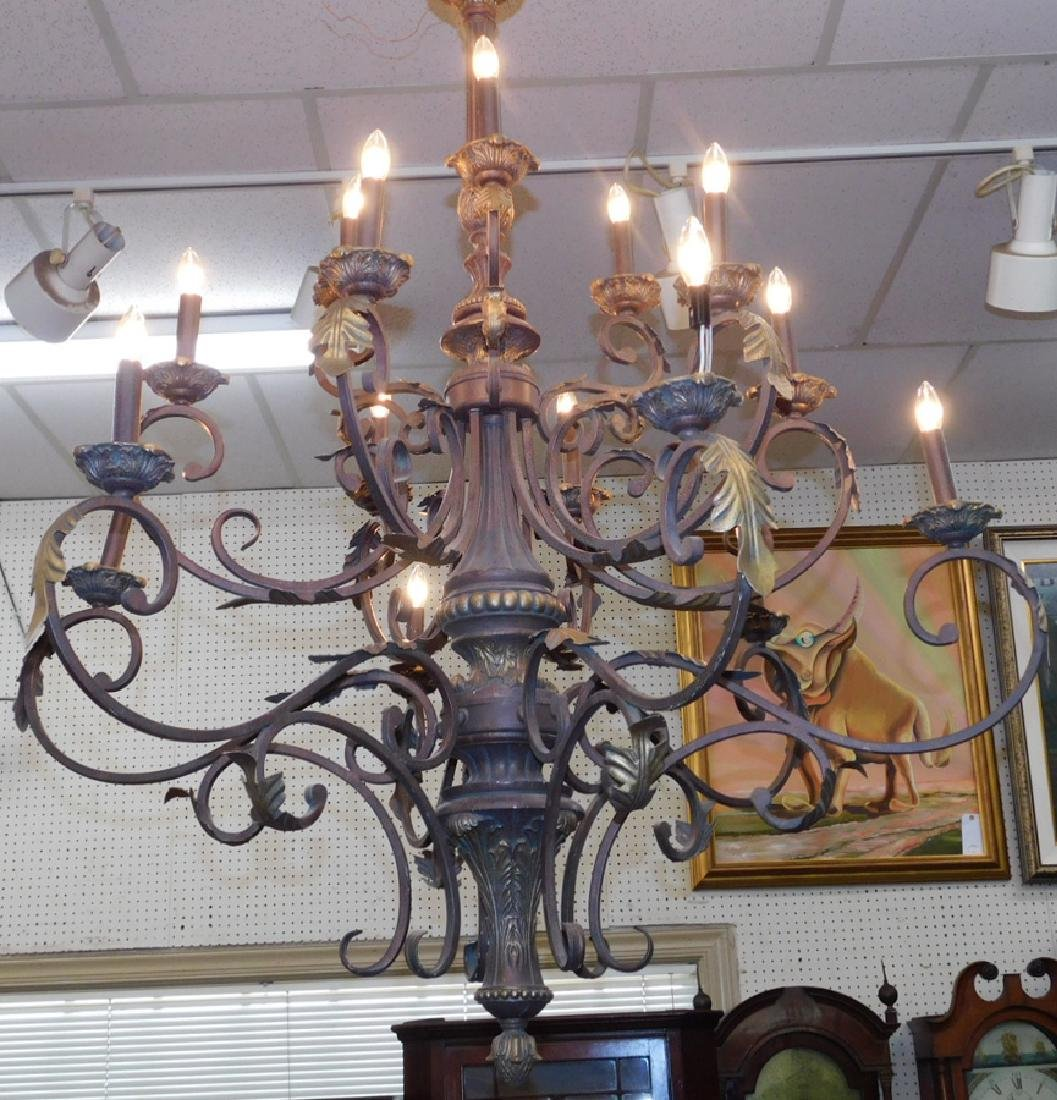 Wrought iron hanging chandelier - 3
