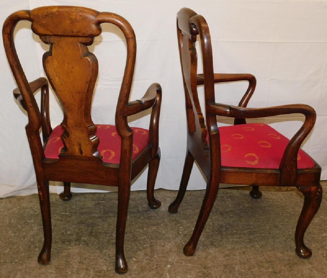 Pair of walnut Queen Anne arm chairs - 4