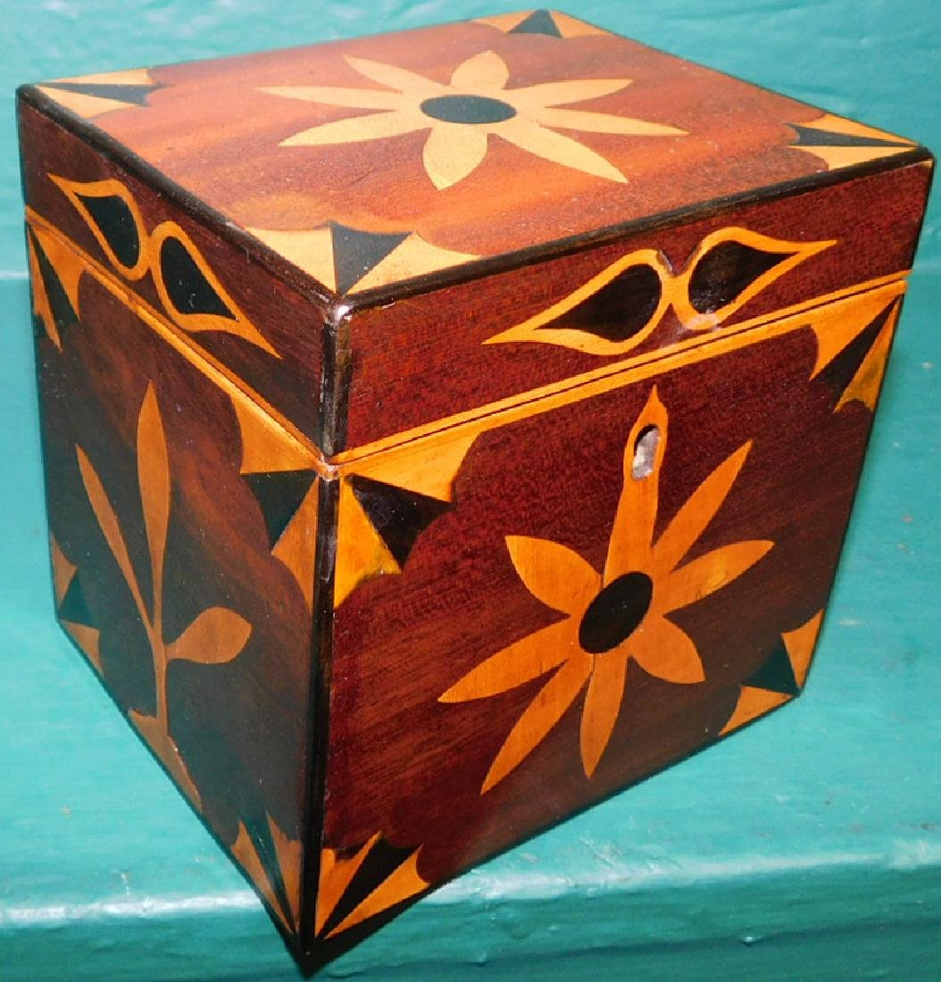Square tea caddy with geometrical inlay