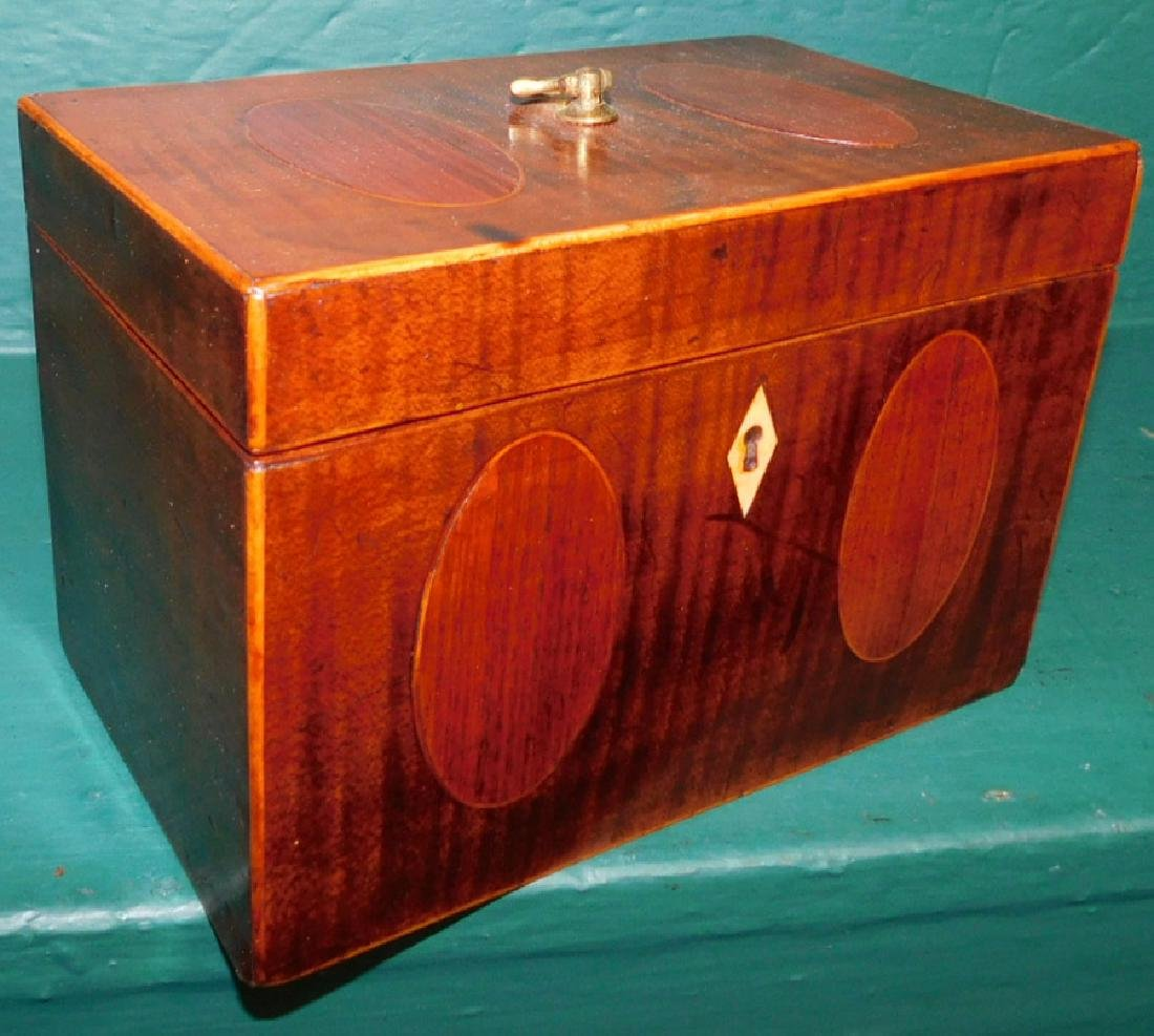 Double mahogany inlaid tea caddy