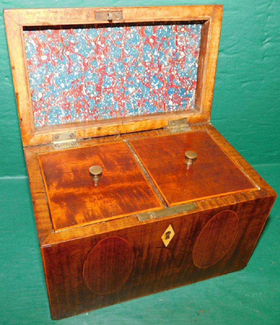 Double mahogany inlaid tea caddy - 2
