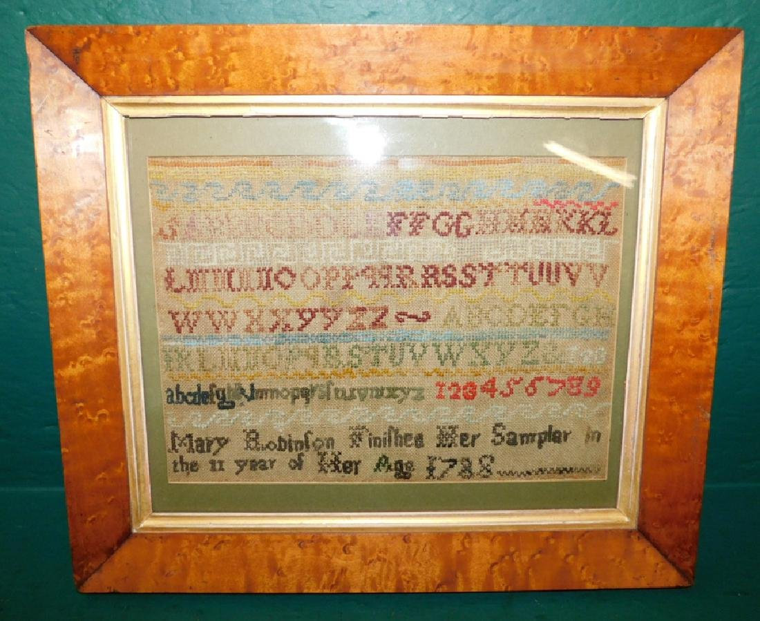 Needlework sampler by Mary Robinson,1788