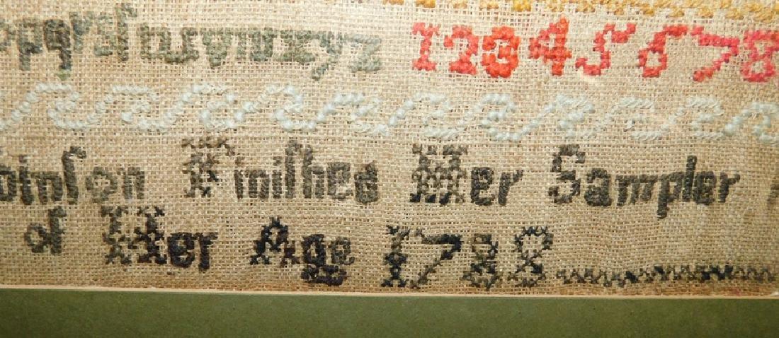 Needlework sampler by Mary Robinson,1788 - 2