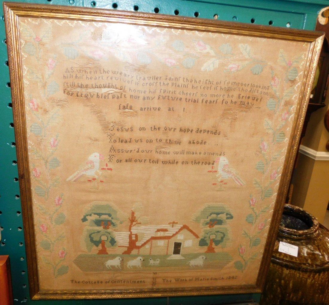 Maria Smith dated 1842 Needlework Sampler