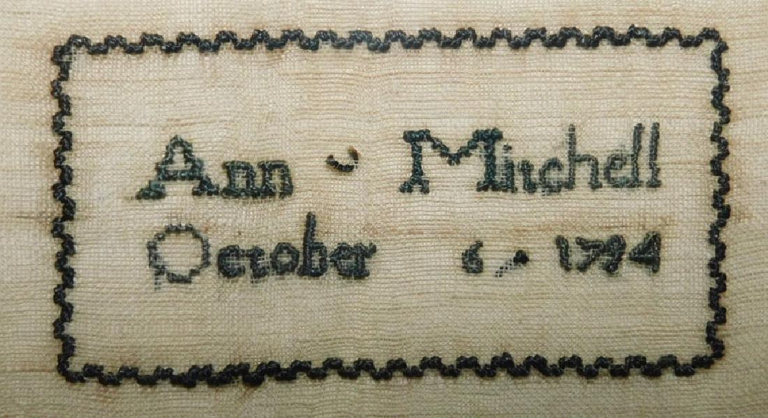 Needlework sampler by Ann Minchell - 1794 - 2