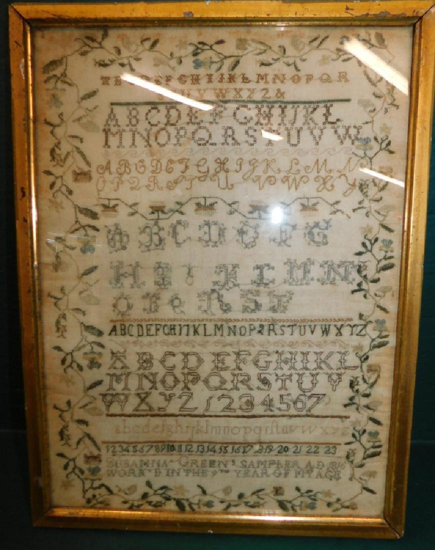 Needlework sampler by Susane Green - 1816