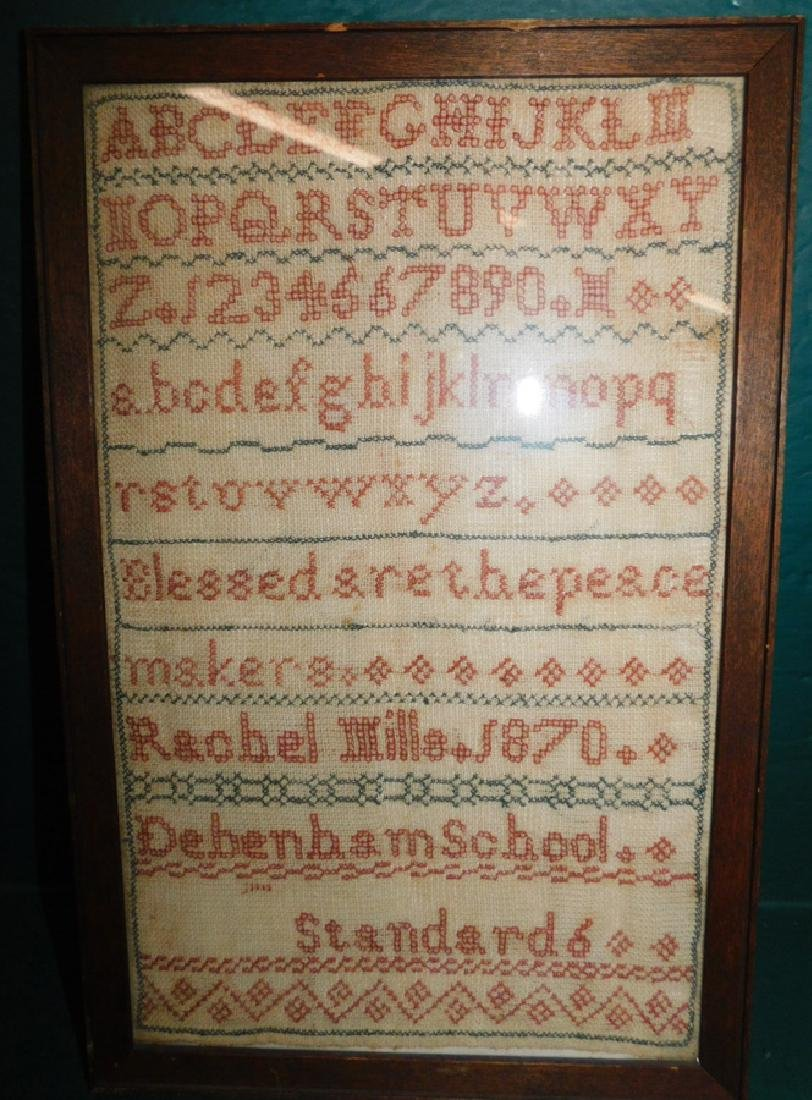 Needlework sampler by Rachel Mills - 1870