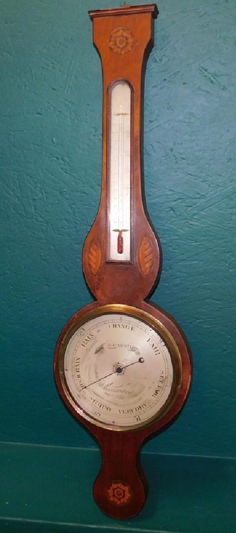 Inlaid Hepplewhite mah banjo shaped barometer