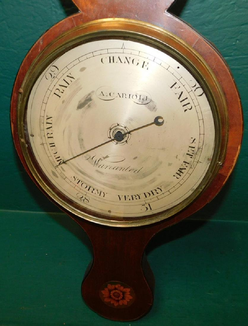 Inlaid Hepplewhite mah banjo shaped barometer - 2