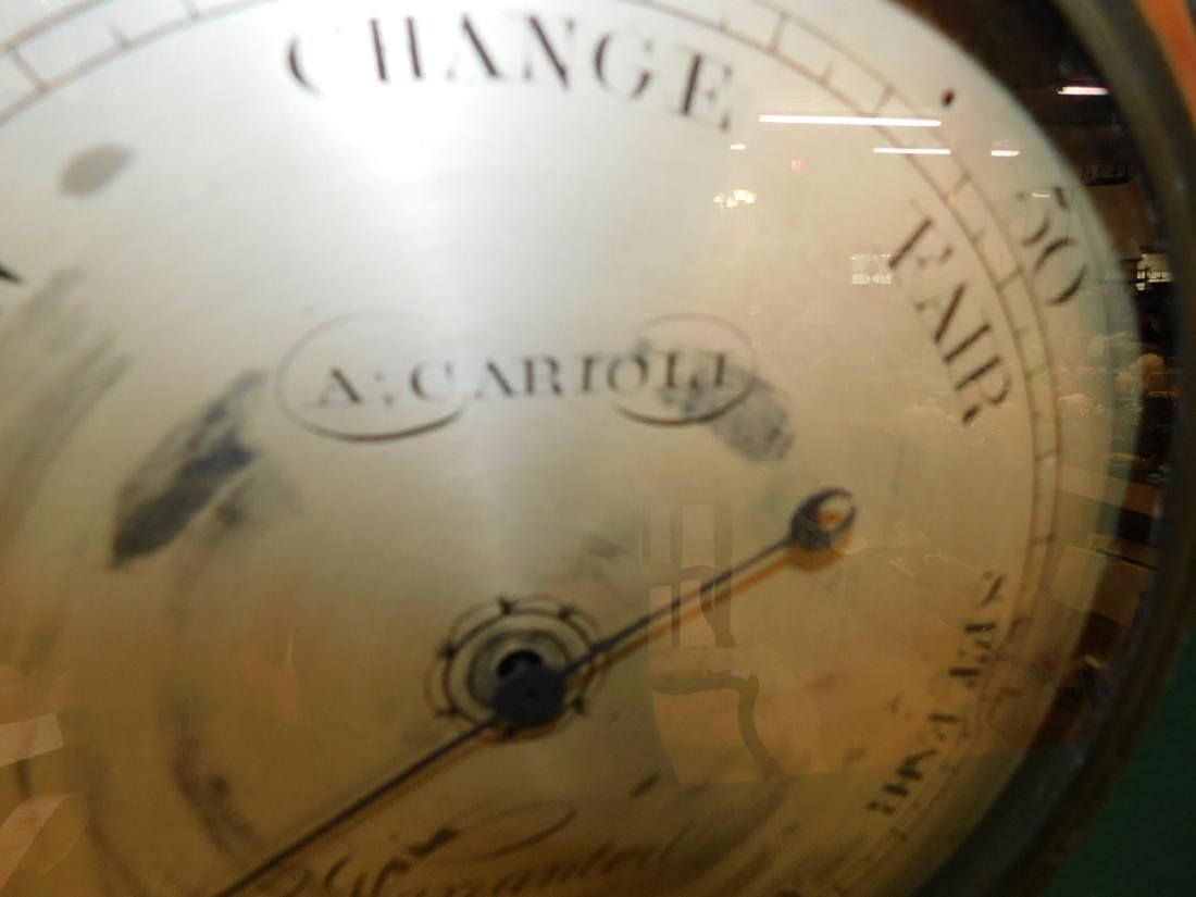 Inlaid Hepplewhite mah banjo shaped barometer - 3