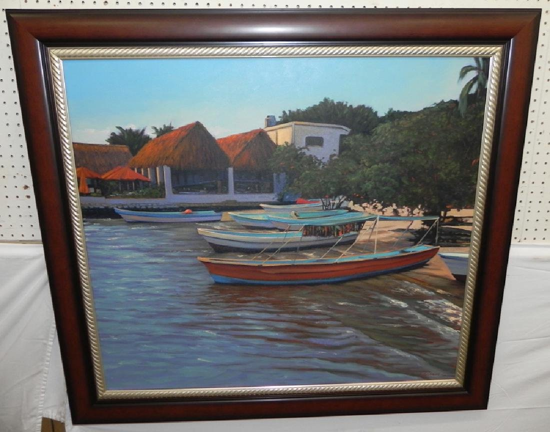 Signed Swimm boat scene painting