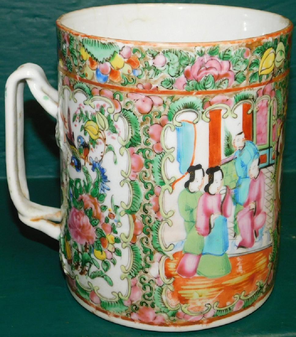 19th C large Rose Medallion cider mug