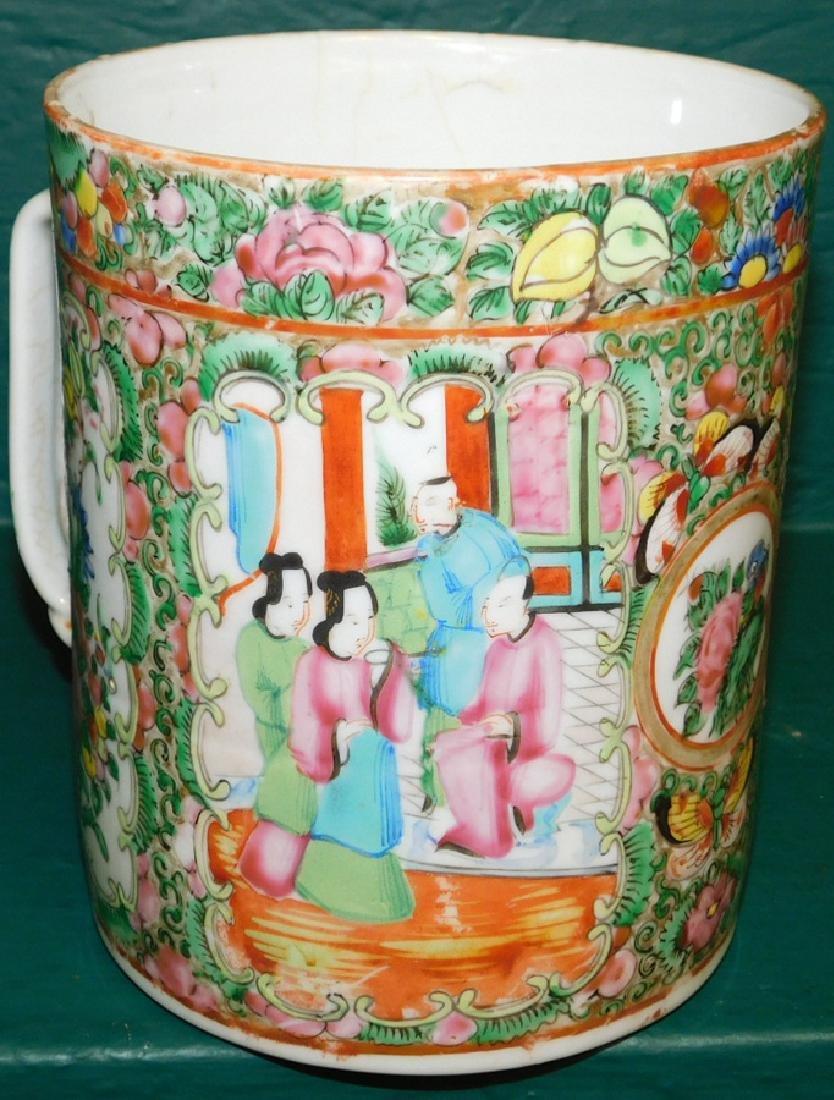 19th C large Rose Medallion cider mug - 2