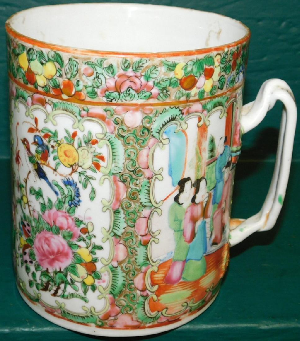 19th C large Rose Medallion cider mug - 3