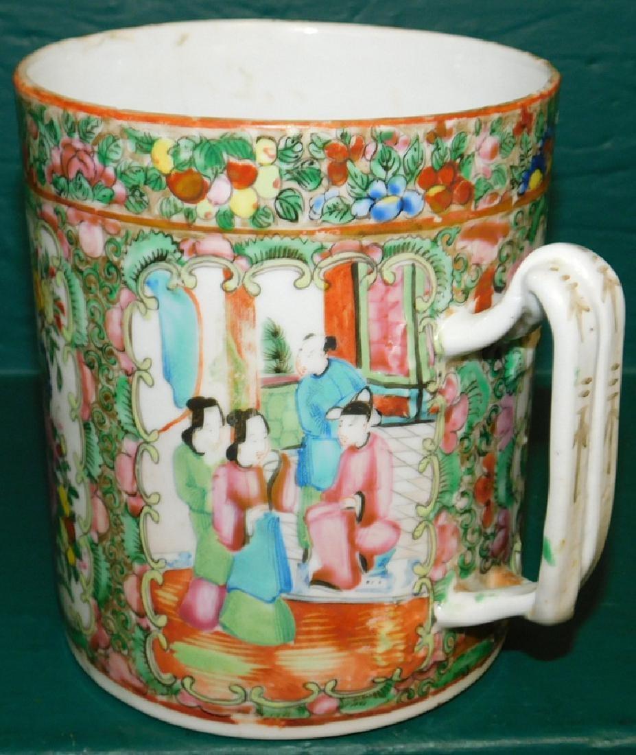19th C large Rose Medallion cider mug - 4