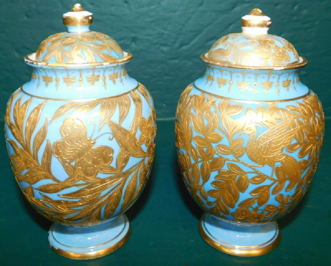 Pair of 19th C Crown Derby vases and covers
