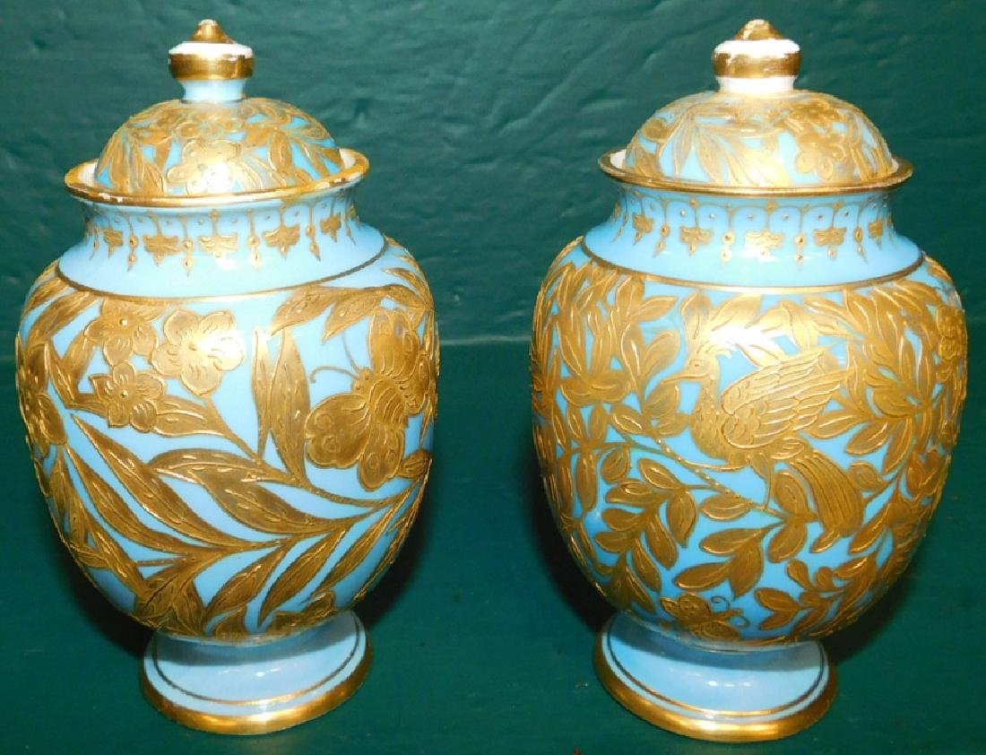 Pair of 19th C Crown Derby vases and covers - 2