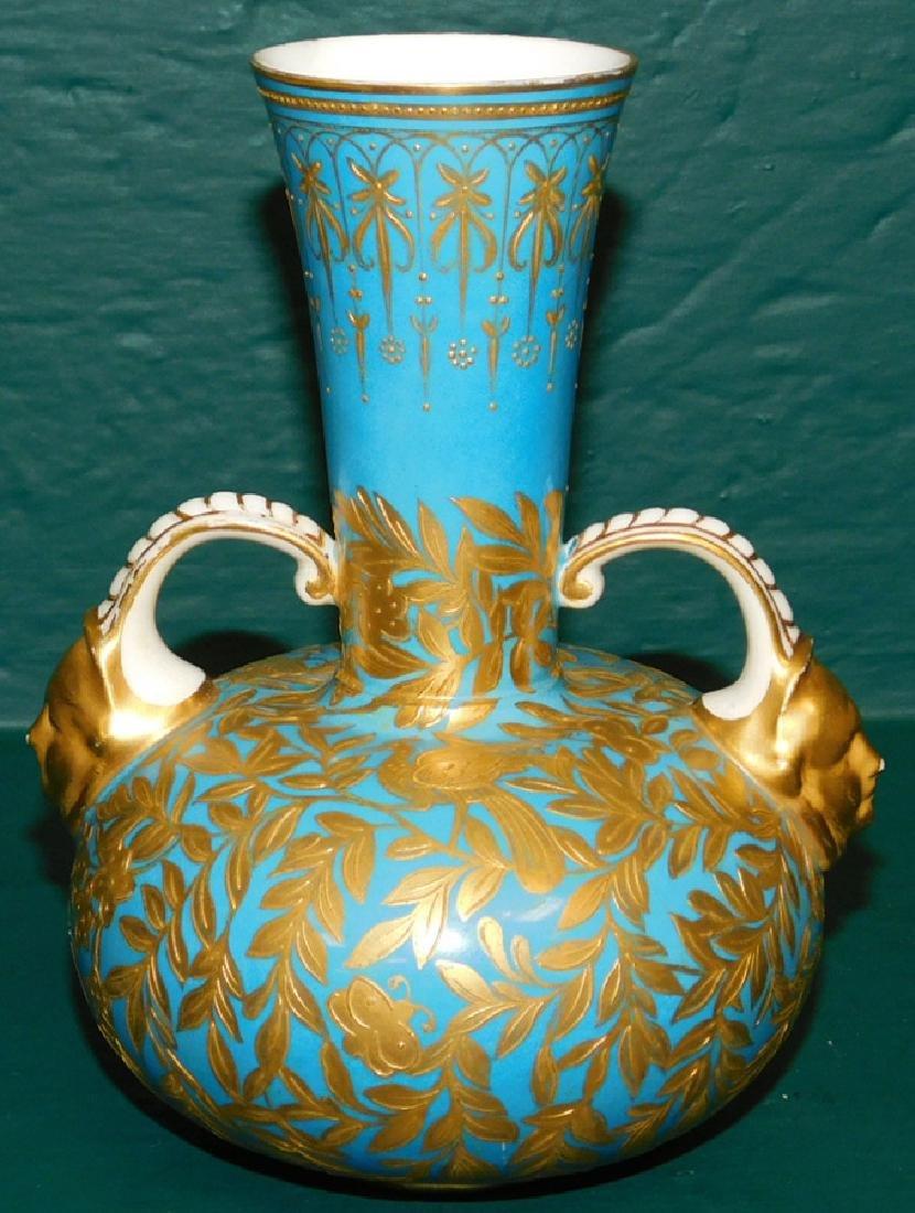 19th C Crown Derby 2 handled vase