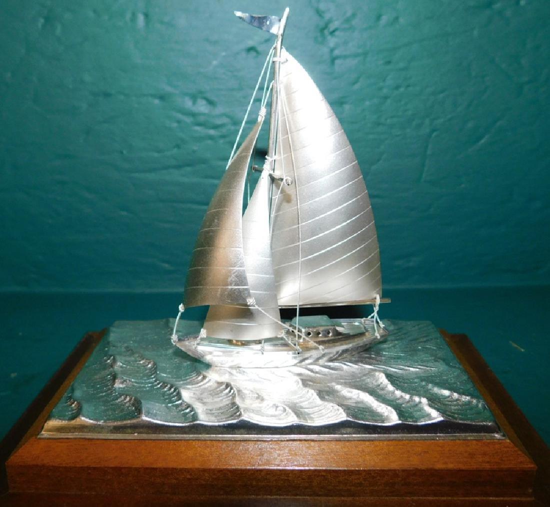 Sterling silver sailboat in case by Takehiko Seki - 2
