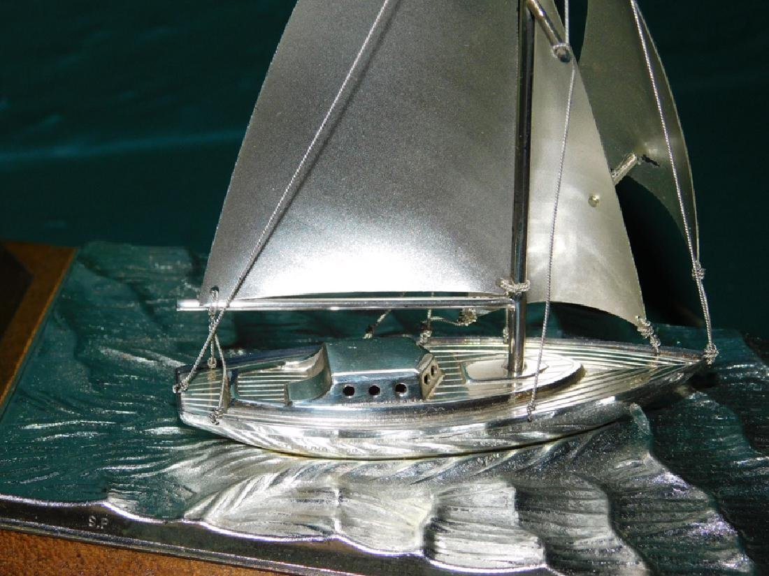 Sterling silver sailboat in case by Takehiko Seki - 5