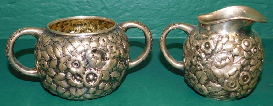 Sterling Repousse sugar & creamer by Scheibler - 2