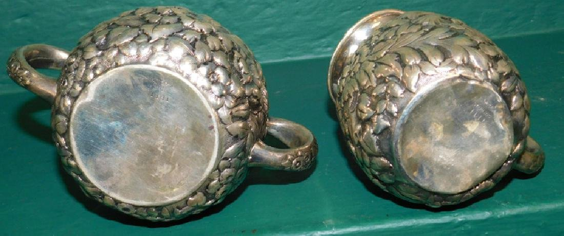 Sterling Repousse sugar & creamer by Scheibler - 3