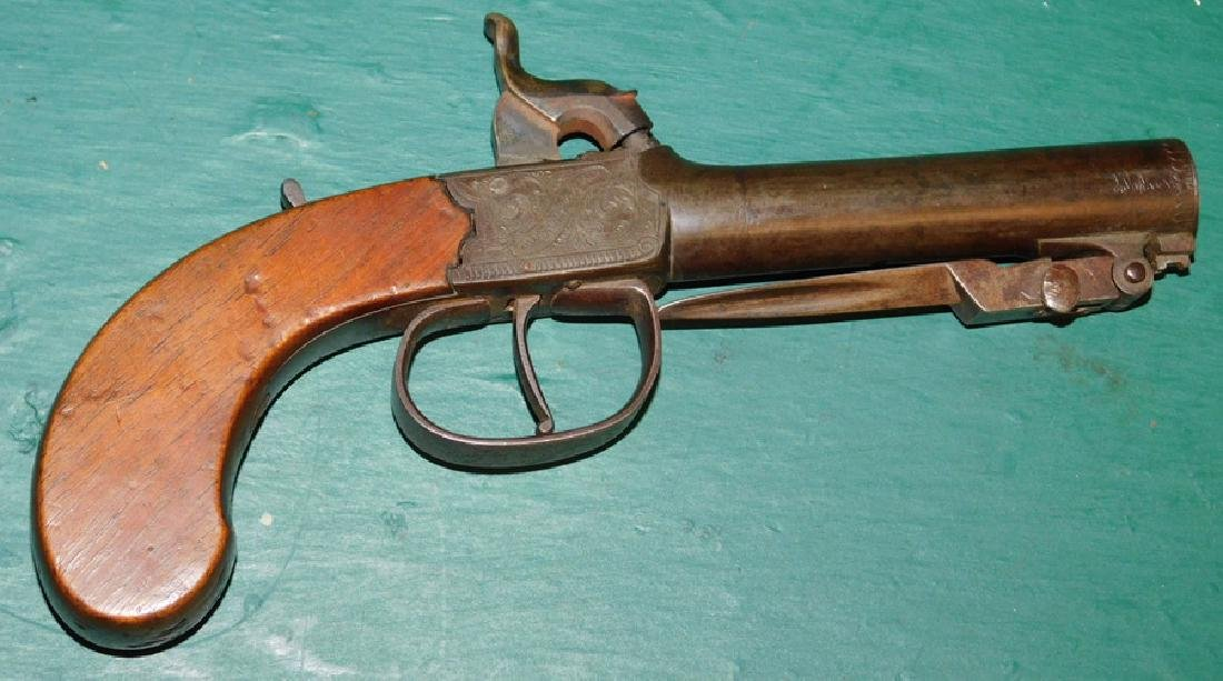 Signed C. F. Young Percussion pistol w/ bayonet - 2