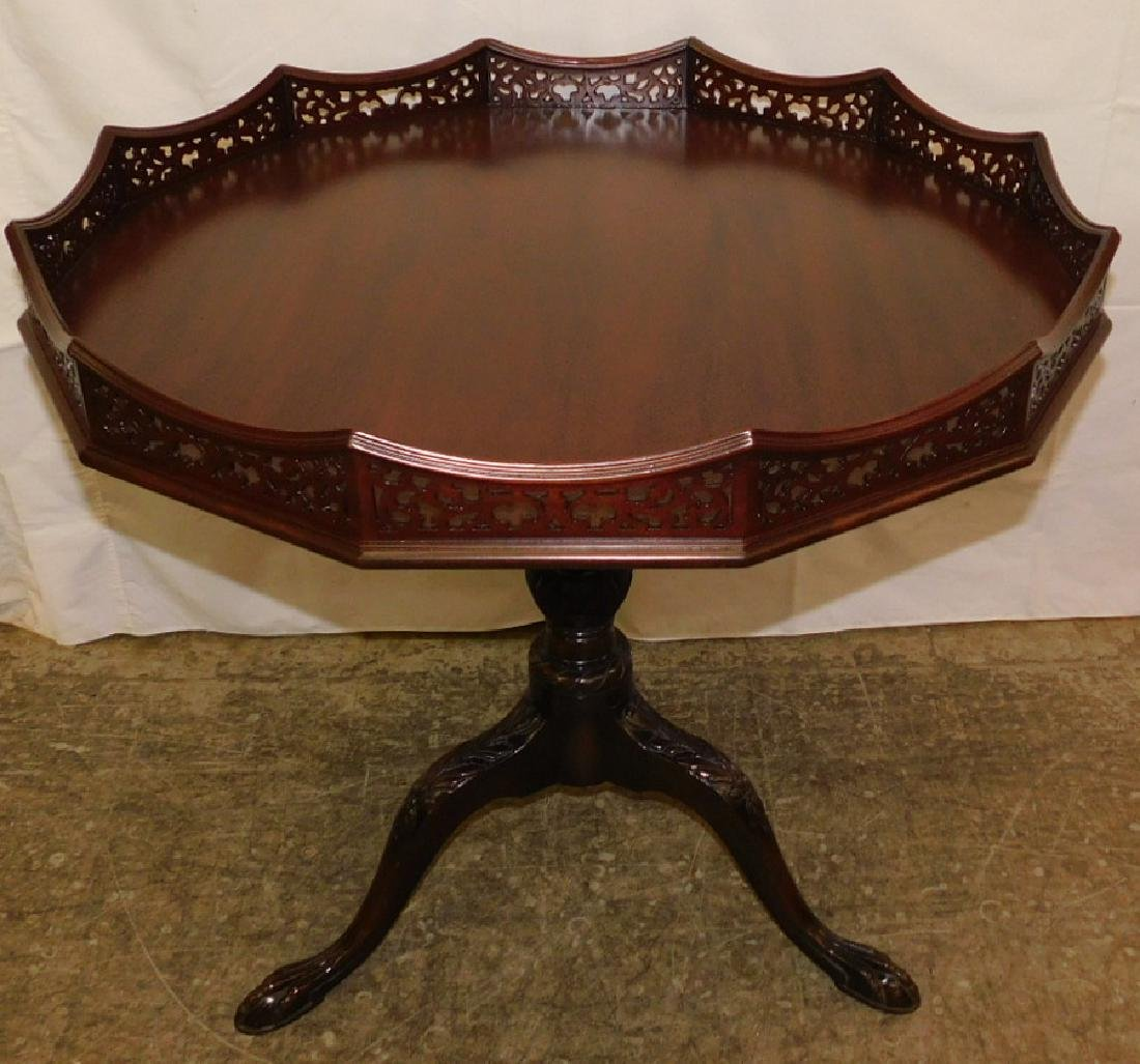 Mahogany tilt top claw foot table w/ gallery top