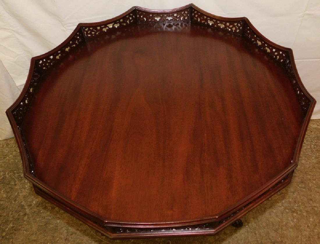 Mahogany tilt top claw foot table w/ gallery top - 2