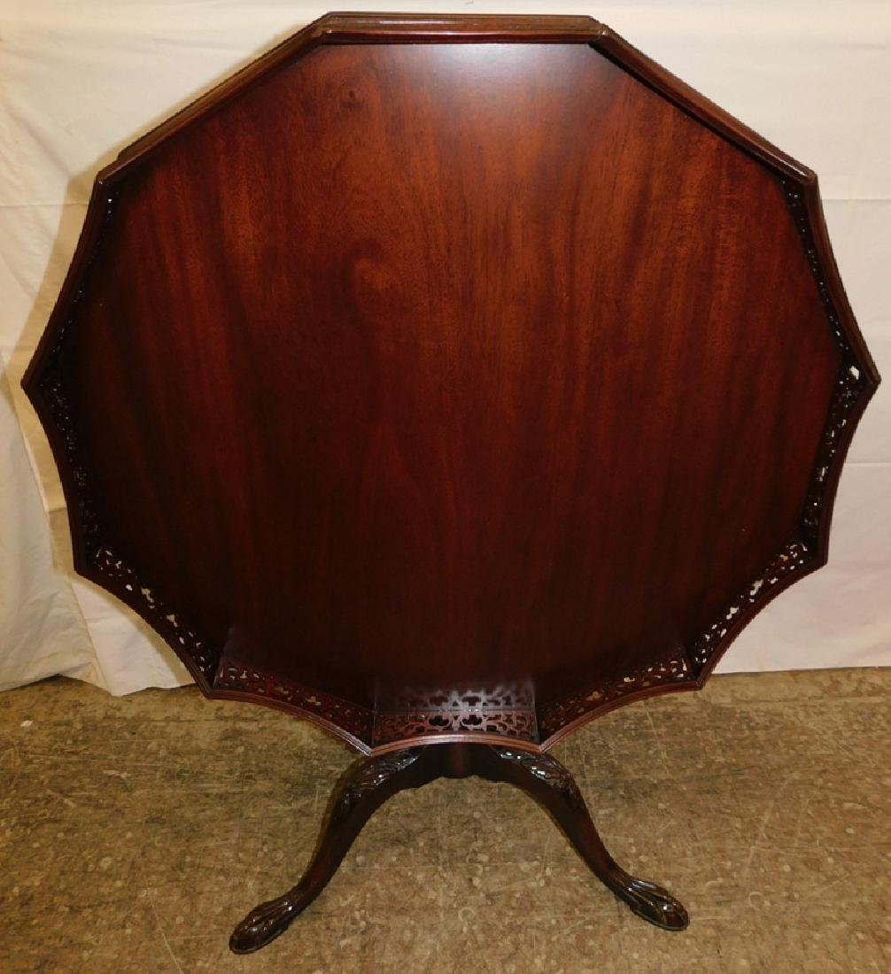 Mahogany tilt top claw foot table w/ gallery top - 5