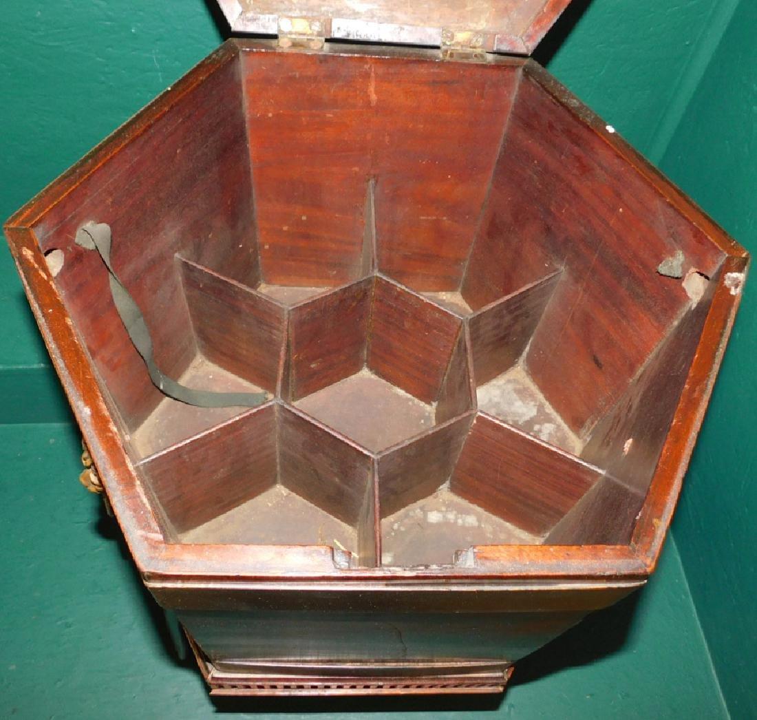 Mahogany octagon shaped top cellarette - 4