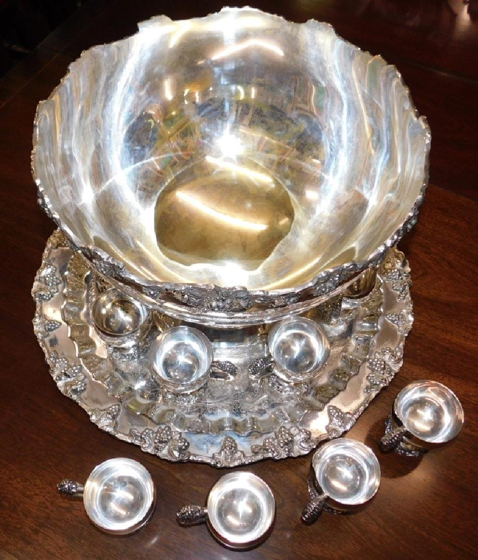 Silver on copper hallmarked punch bowl set