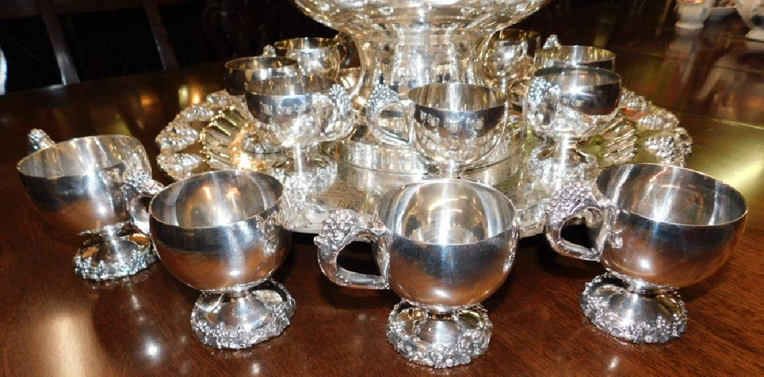 Silver on copper hallmarked punch bowl set - 2